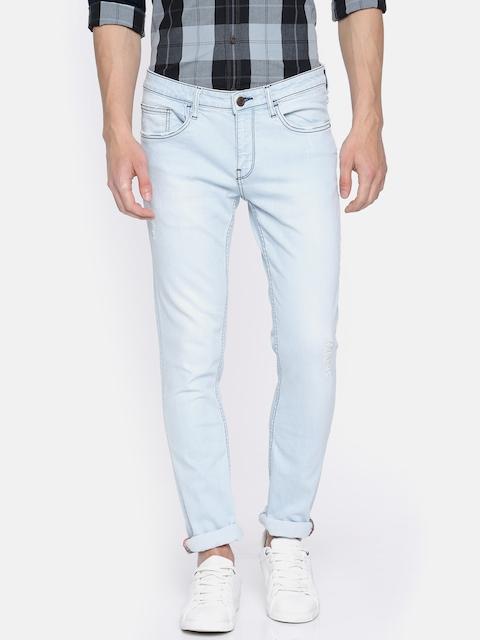 Arrow Blue Jean Co. Men Blue Skinny Fit Mid-Rise Low Distress Stretchable Jeans