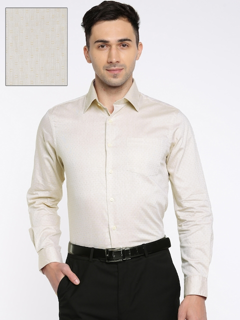 Arrow Men Beige Snug Slim Fit Self Design Formal Shirt
