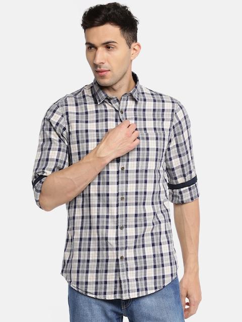 Arrow Blue Jean Co. Men Beige & Navy Slim Fit Checked Casual Shirt