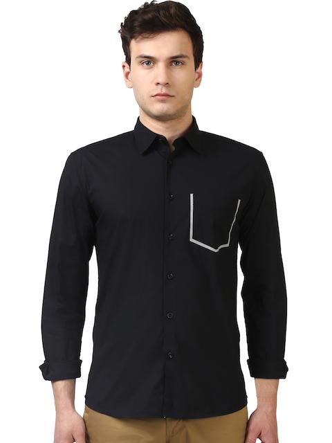 Parx Men Black Slim Fit Solid Casual Shirt