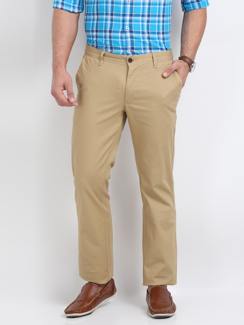 Indian Terrain Men Beige Kansas Regular Fit Self Design Chinos