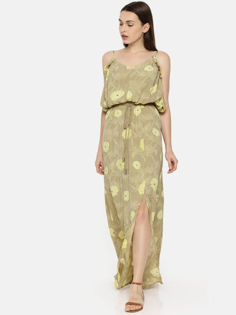 Vero Moda Women Beige Printed Maxi Dress