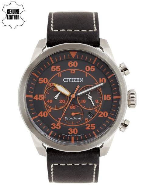 Citizen Men Black & Orange Aviator Analogue Watch CA4210-08E