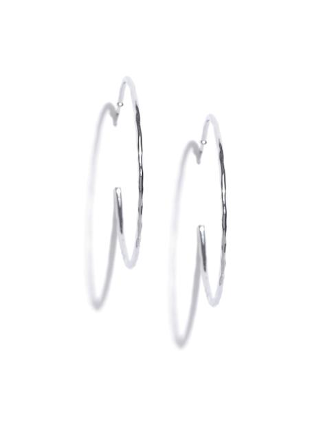 Accessorize Silver-Toned Circular Half Hoop Earrings