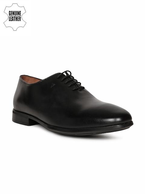 Van Heusen Men Black Leather Formal Oxfords