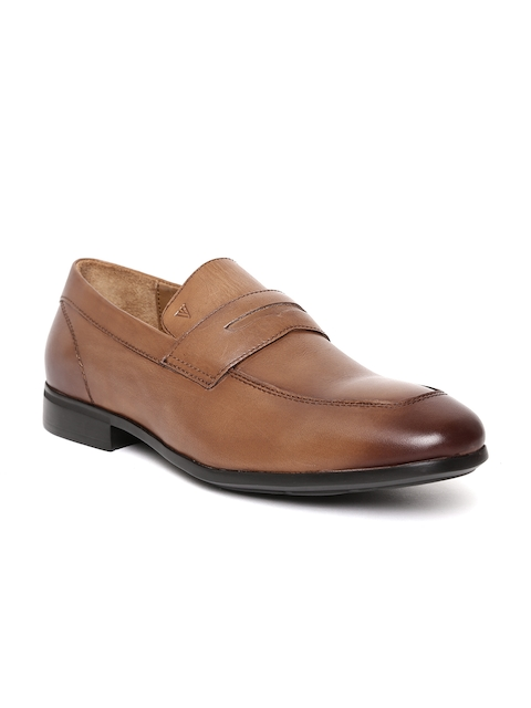 Van Heusen Men Tan Brown Leather Formal Slip-Ons