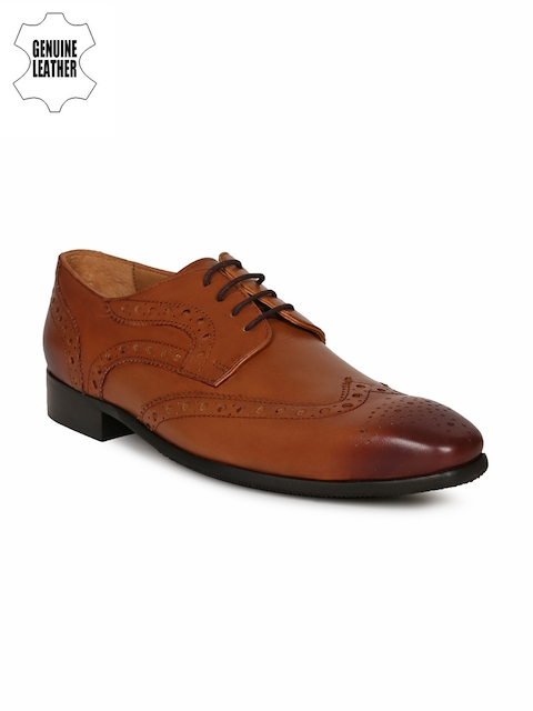 Van Heusen Men Tan Brown Leather Formal Brouges