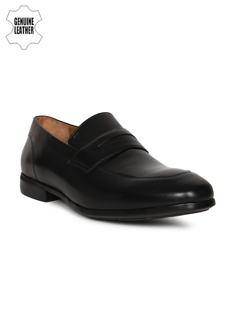 Van Heusen Men Black Leather Formal Shoes