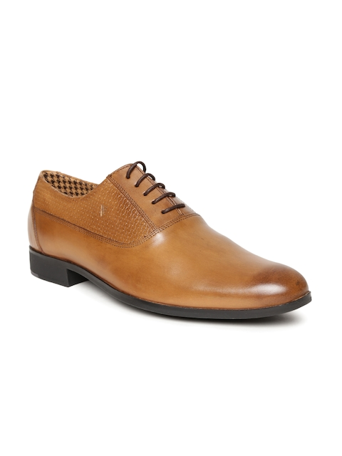 Van Heusen Men Tan Brown Leather Semiformal Oxfords