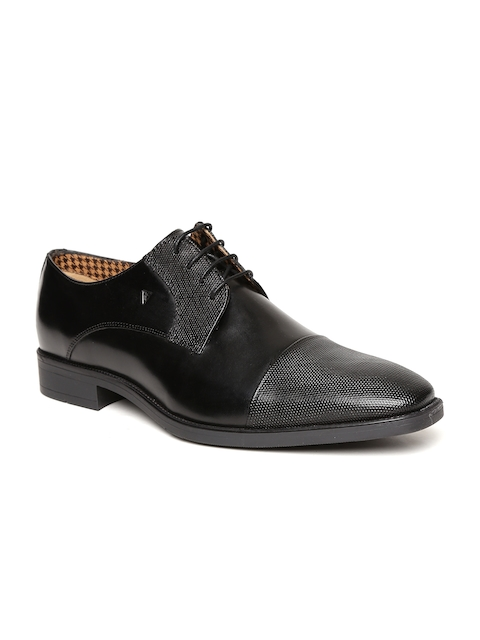 Van Heusen Men Black Leather Derby Formal Shoes