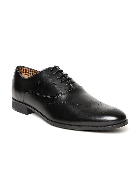 Van Heusen Men Black Leather Semiformal Oxfords