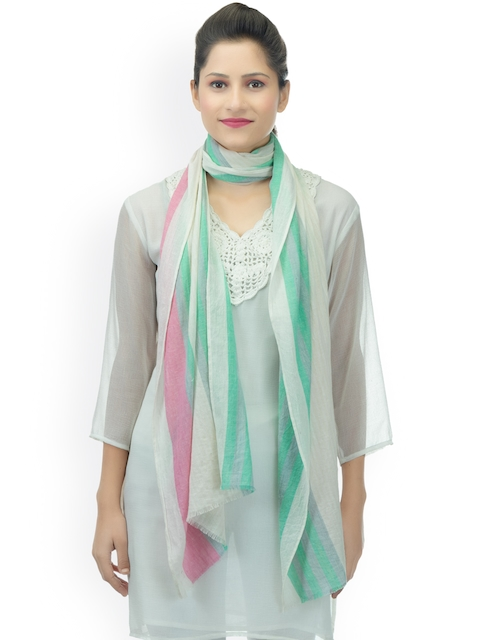 Anekaant Women Off-White & Pink Woven Design Stole