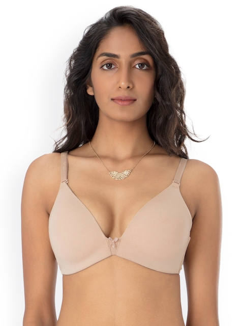 PrettySecrets Nude-Coloured Solid Non-Wired Lightly Padded T-shirt Bra