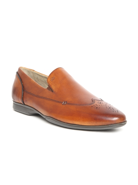 Arrow Men Tan Brown Leather Formal Slip-Ons