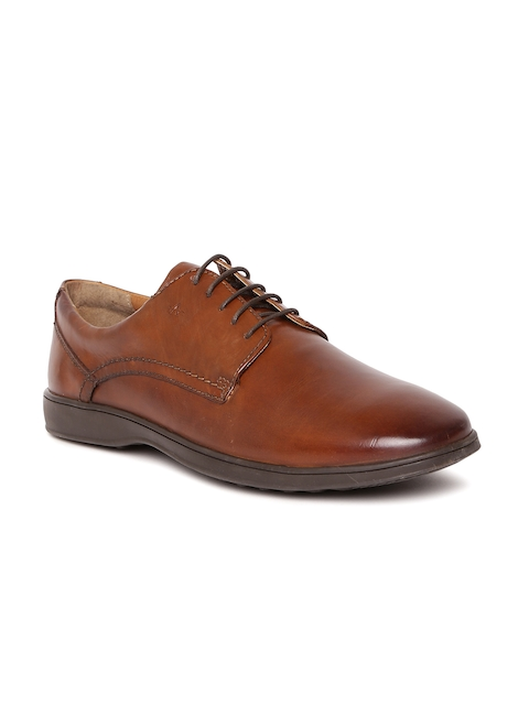 Arrow Men Tan Brown Genuine Leather Formal Derbys