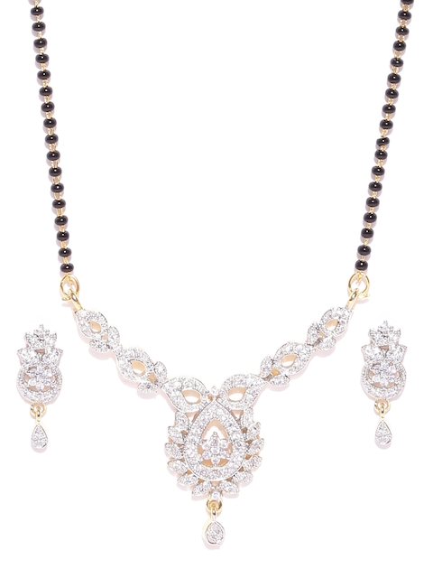 Jewel Galaxy Black & Silver-Toned Stone-Studded Mangalsutra with Earrings Set