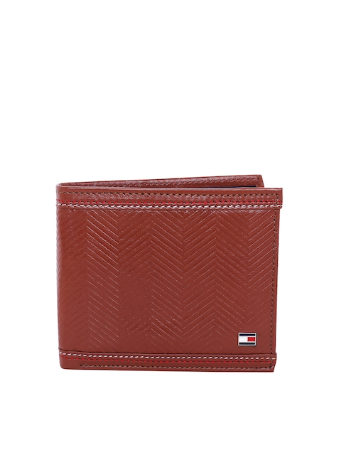 Tommy Hilfiger Men Tan Brown Textured Leather Two Fold Wallet