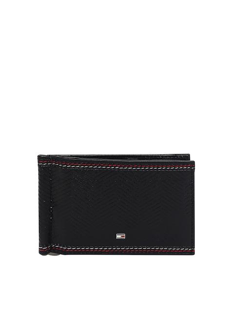 Tommy Hilfiger Men Black Leather Textured Card Holder