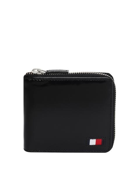 Tommy Hilfiger Men Black Leather Zip Around Wallet