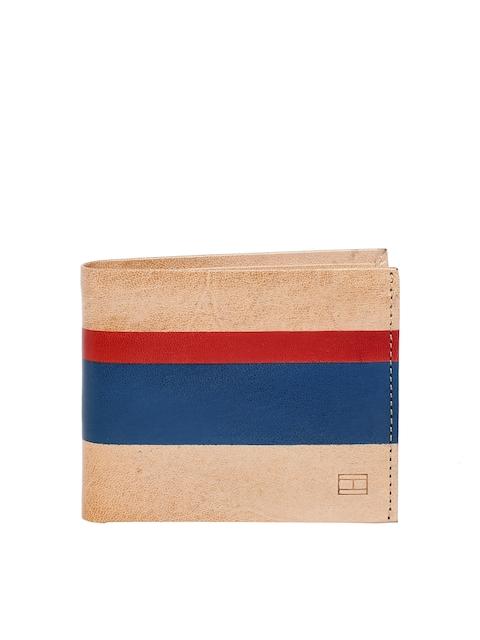 Tommy Hilfiger Men Beige & Navy Blue Colourblocked Leather Two Fold Wallet