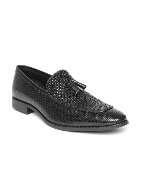 Blackberrys Men Black Leather Basketweave-Textured Tasselled Semiformal Slip-Ons