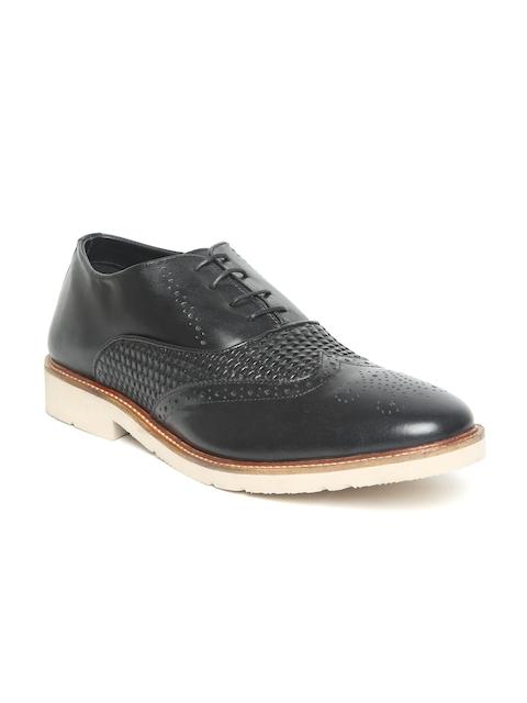 Blackberrys Men Black Leather Basketweave-Textured Semiformal Oxfords