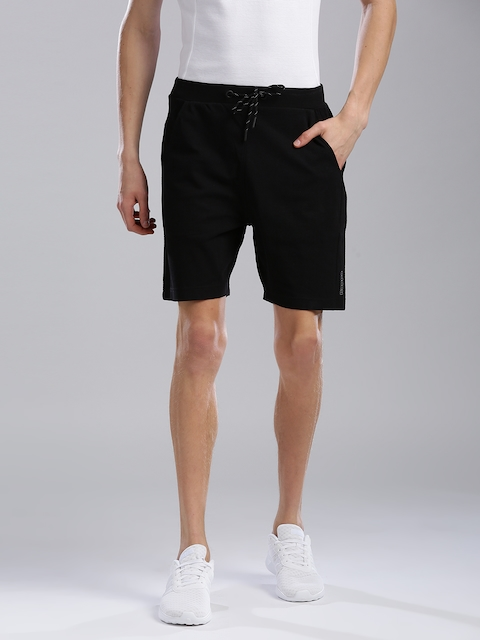Kappa Men Black Self Design Regular Fit Shorts