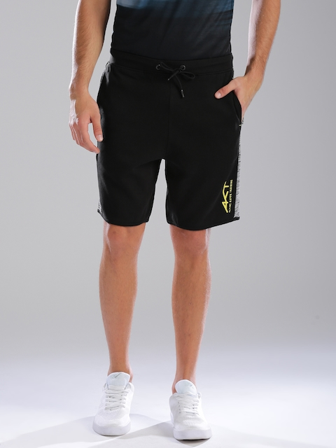 Kappa Men Black Solid Regular Fit Sports Shorts With Quick Dry Technology