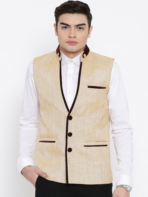 Platinum Studio Beige Slim Fit Nehru Jacket