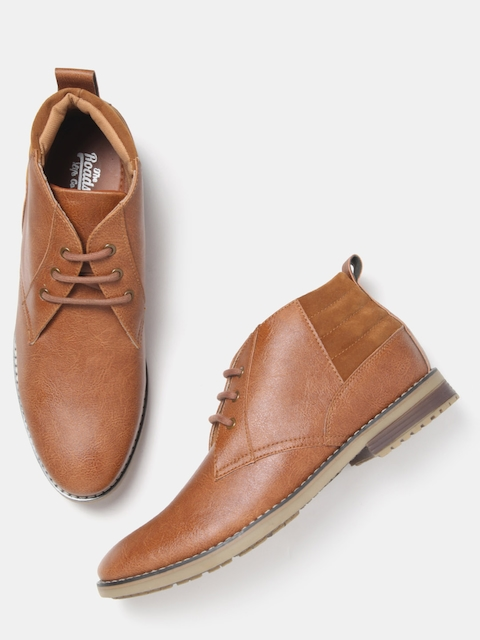 Roadster Men Tan Brown Mid-Top Flat Boots