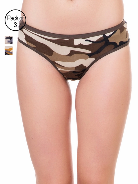 Lady Lyka Pack of 3 Multicoloured Abstract Print Briefs VELVET-TOUCH-20