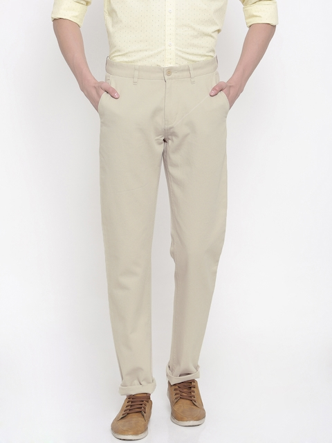 Van Heusen Sport Men Beige Slim Fit Self Design Regular Trousers