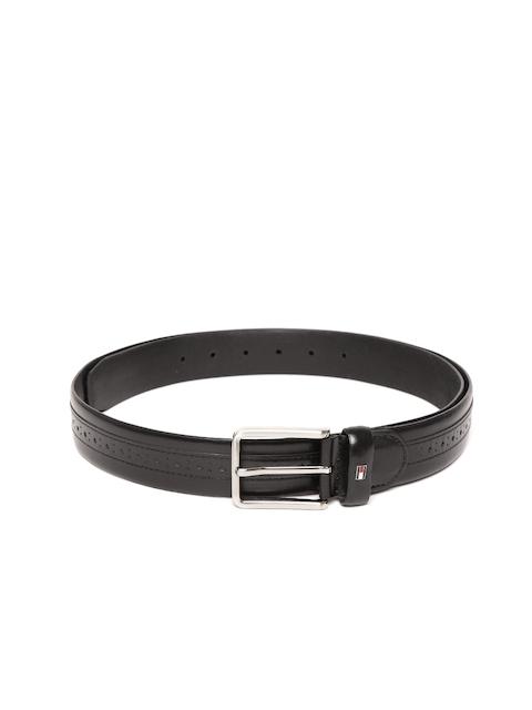 Tommy Hilfiger Men Black Genuine Leather Textured Belt