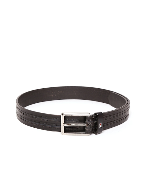 Tommy Hilfiger Men Black Striped Leather Belt