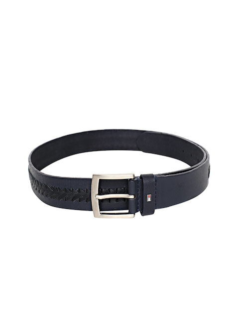 Tommy Hilfiger Men Navy Blue & Black Woven Design Leather Belt
