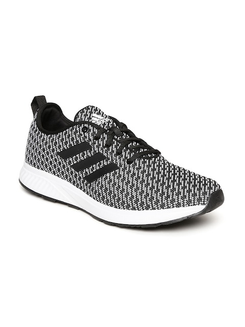 Adidas Men Black & White Kivaro 1 Patterned Running Shoes