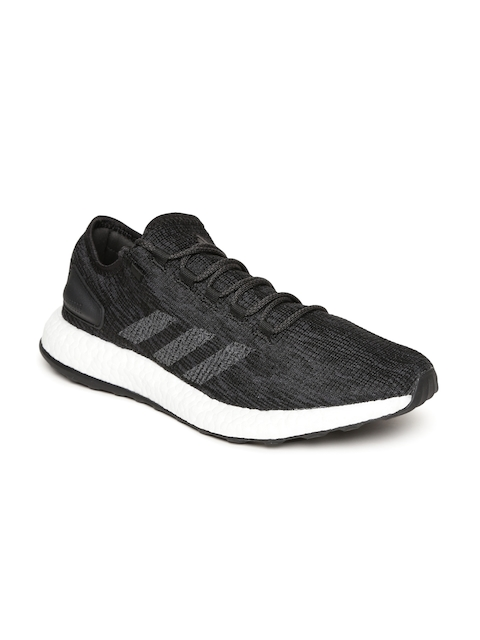 Adidas Men Black & Grey Pureboost Running Shoes