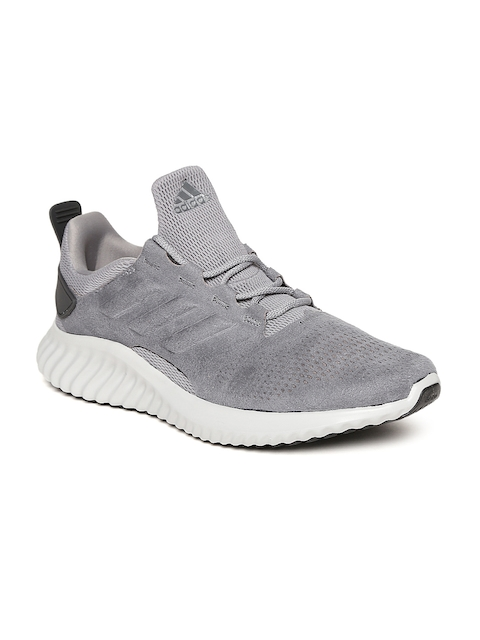 Adidas Men Grey Alphabounce CR Suede Running Shoes
