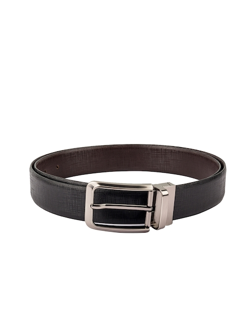 Kara Men Black & Brown Solid Leather Belt