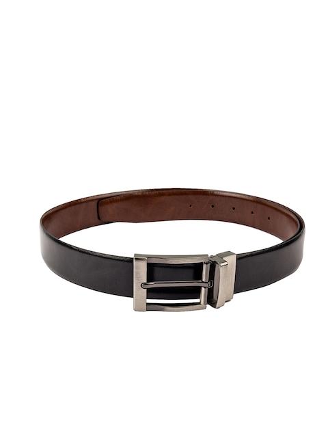 Kara Men Black & Tan Solid Leather Belt
