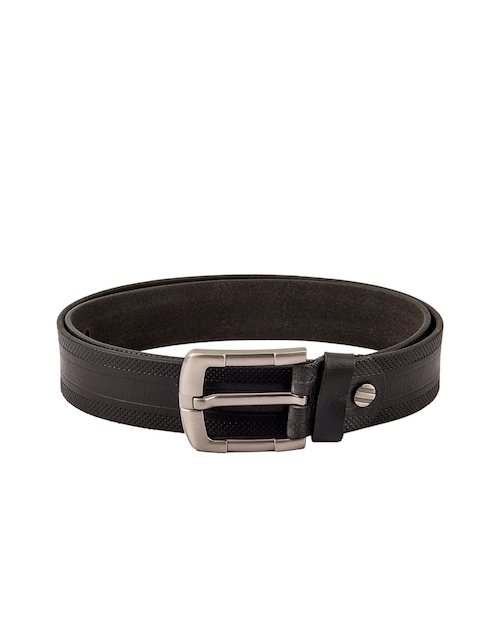 Kara Men Black Solid Leather Belt