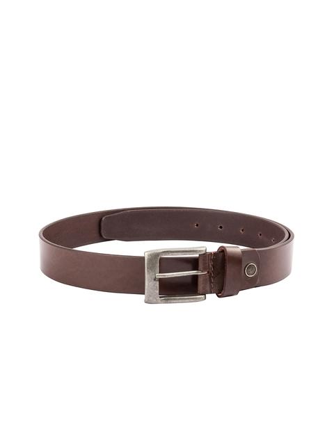 Kara Men Tan Solid Leather Belt