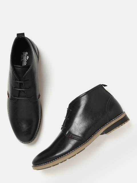 Roadster Men Black Solid Synthetic Mid-Top Flat Boots