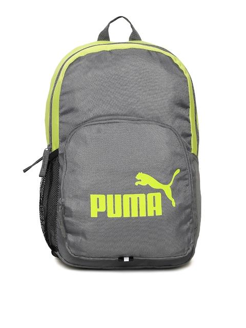 Puma Unisex Grey & Yellow Phase IND Brand Logo Backpack