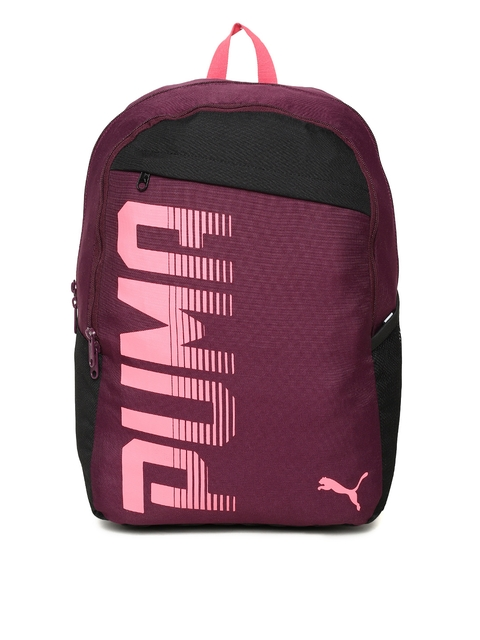 PUMA Unisex Purple & Black Printed Pioneer I IND Backpack