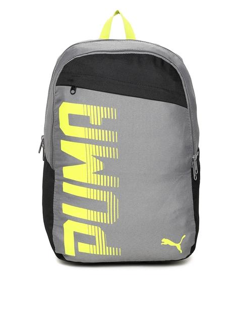 PUMA Unisex Grey & Black Printed Pioneer I IND Backpack