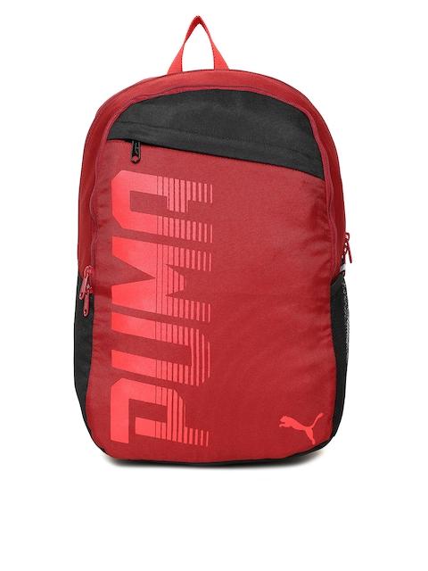 PUMA Unisex Red & Black Printed Pioneer I IND Backpack