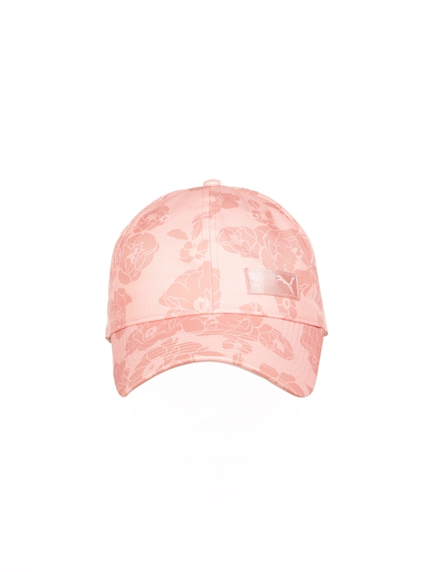 Puma Women Peach-Coloured Self Design Baseball Cap