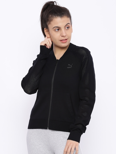 PUMA Women Black Solid EvoKNIT Sweatshirt