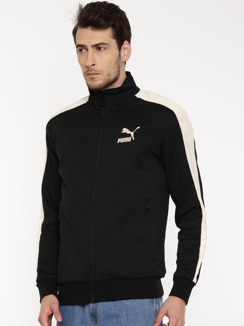 Puma Men Black Solid Sporty T7 inserts Suede Jacket